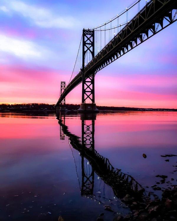 reflection, bridge, dawn, sky, sunset,