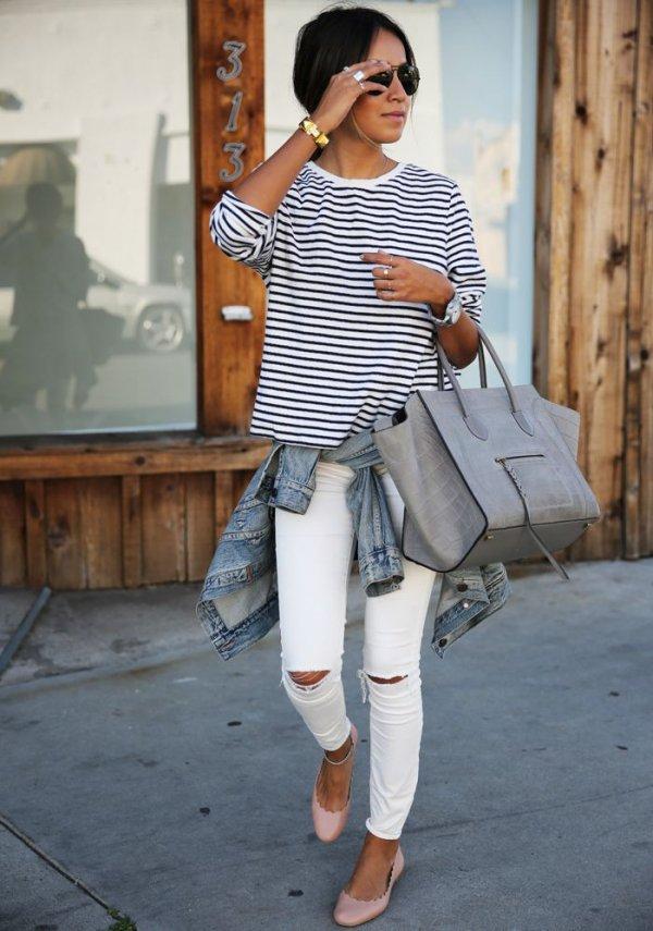 Narrow Stripes, White SkinNies