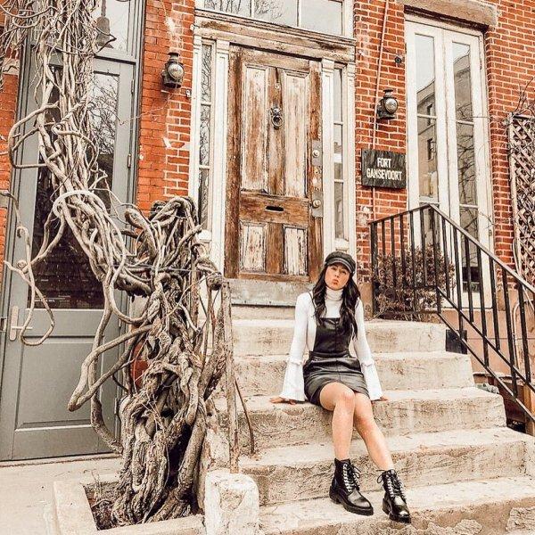 girl, building, window, facade,