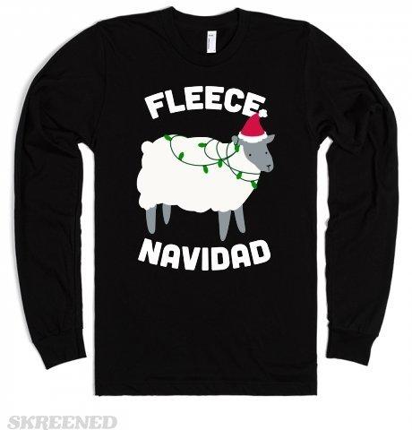 Fleece Navidad Unisex Black T-Shirt