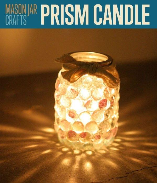 Mason Jar Prism Candle Light