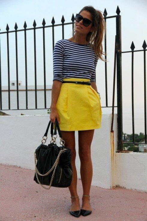 Striped Shirt & Yellow Skirt