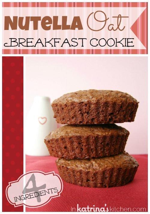 4 Ingredient Nutella Oat Breakfast Cookies