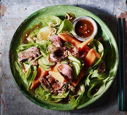 Seared Beef & Papaya Salad with Tamarind Soy Dressing