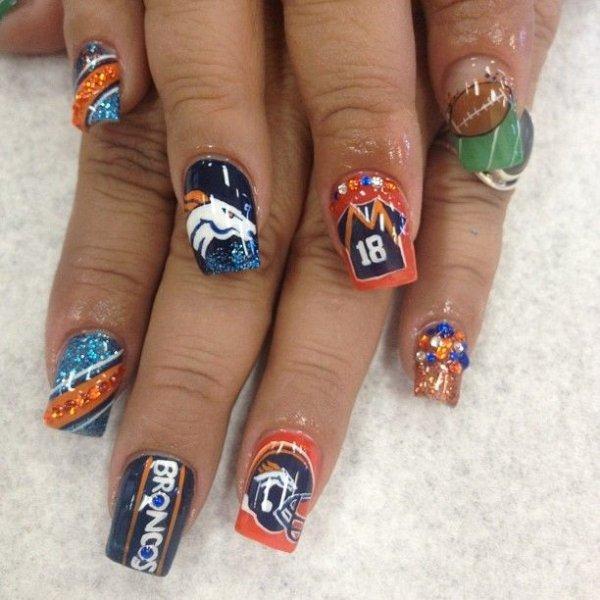 Denver Broncos. Via NFL Nail Art: ... - Denver Broncos - 36 Sports Nail Art Ideas That Will Make You…