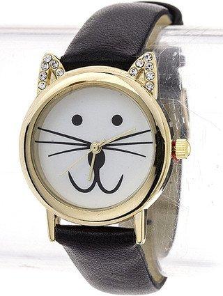 Mini CZ Cat Leather Watch