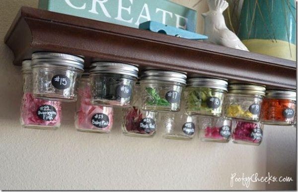 Mason Jar Craft Room Storage Idea