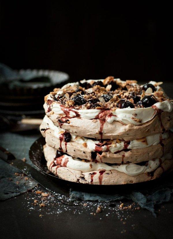 Honeycomb, Chocolate & Almond Pavlova