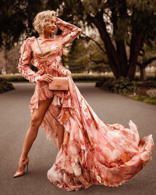 dress, fashion model, gown, girl, peach,