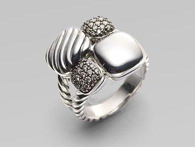 David Yurman Pavé Diamond & Sterling Silver Mosaic Ring