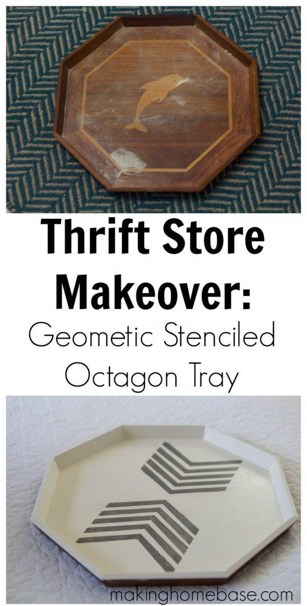 Geometric Stenciled Octagon Tray