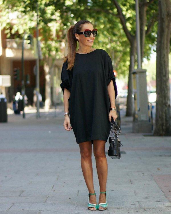 clothing, footwear, little black dress, shoulder, fashion model,