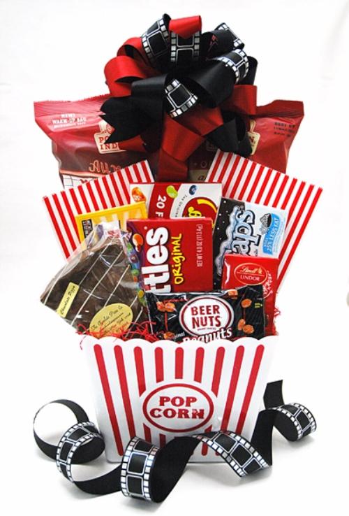 movie lovers popcornskittlesgift basket
