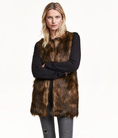 Dark Brown Faux Fur Vest