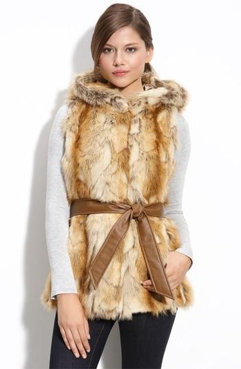Kristen Blake Hooded Faux Fur Vest