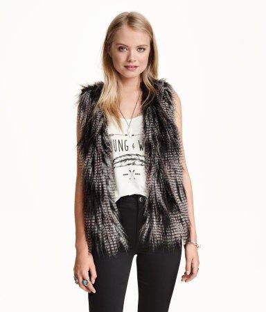Black Melange Faux Fur Vest