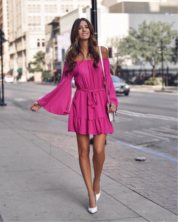 pink, fashion model, footwear, shoulder, magenta,