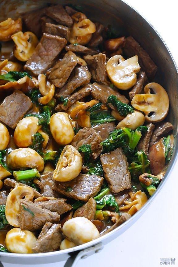 Ginger Beef, Mushroom and Kale Stir Fry