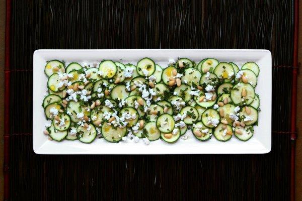 Zucchini Carpaccio with Feta and Pine Nuts