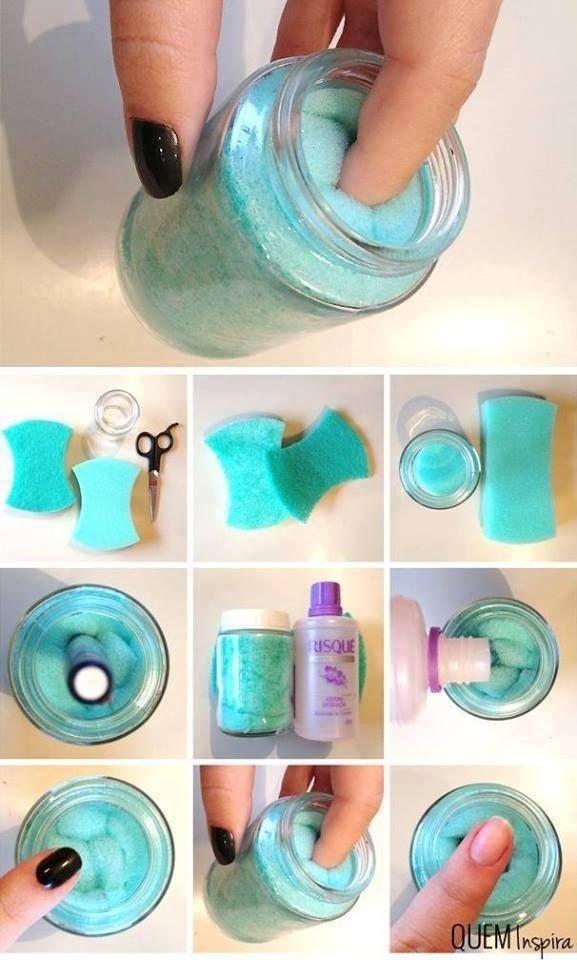 Make a Nail Polish Remover Jar - The Only 26 Nail Polish Hacks…