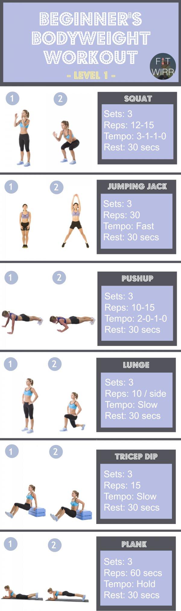 Beginner's Bodyweight Workout, Level 1