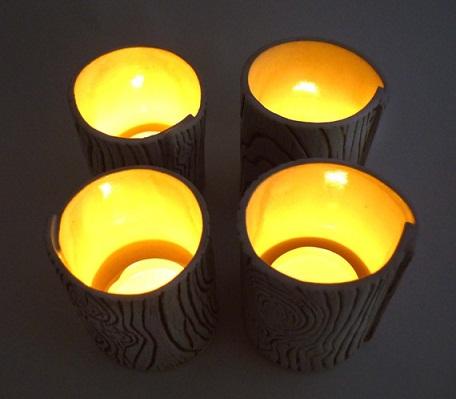 Faux Wood Tealight Holders...