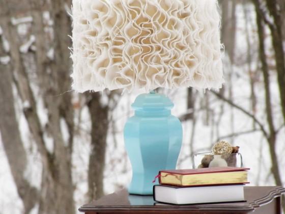 Anthropologie-inspired Ruffled Burlap Lamp