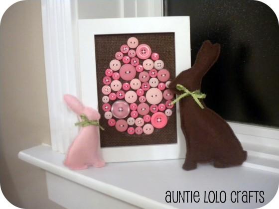 Button Art and Stuffed Bunnies