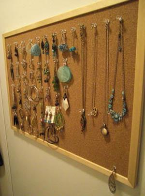 Cork Board as a Jewelry Organizer