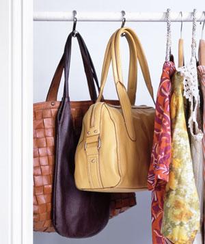 Shower Hooks as Bag Holders