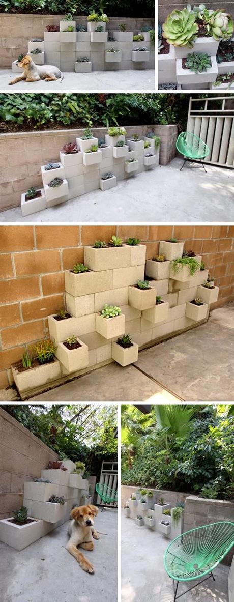 Cinder Block Flower Wall