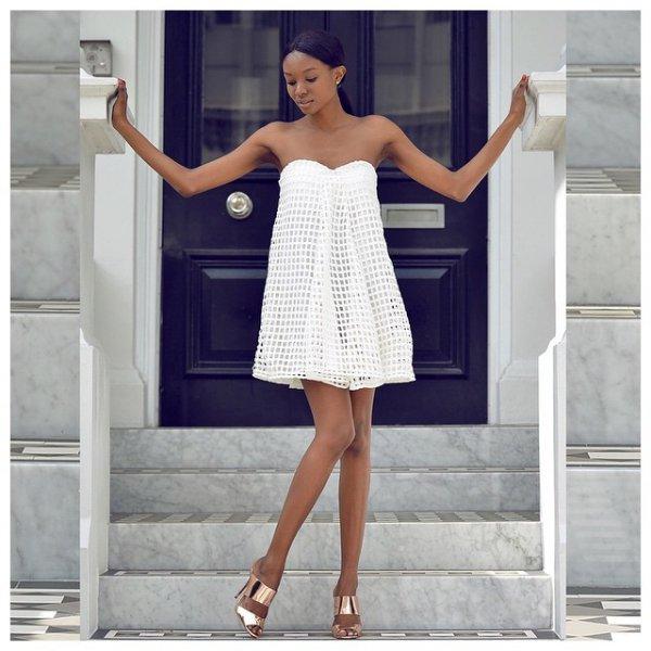 white, clothing, dress, cocktail dress, sleeve,