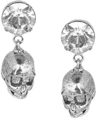 Tom Binns Tough Chic Swarovski Crystal Skull Earrings