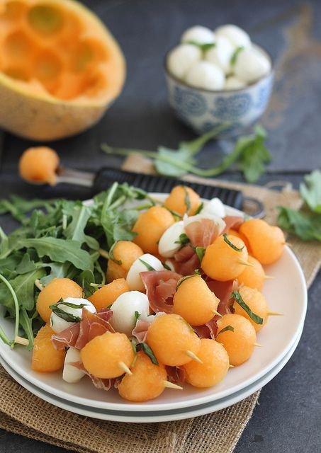 Melon Prosciutto Mozzarella Sticks