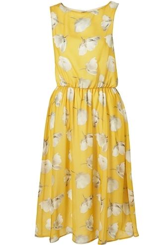 Yellow Buttercup Print Midi Dress