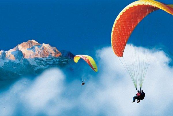 Paragliding through Jungfrau Region, Interlaken, Switzerland