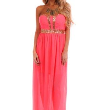 Bright Pink Strapless Sequin Trim Dress