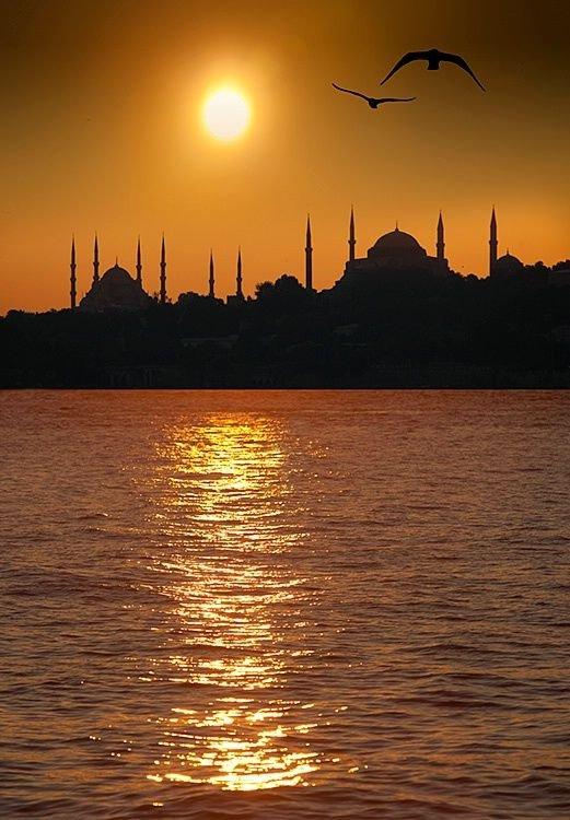 Hagia Sophia,sunset,afterglow,horizon,sunrise,