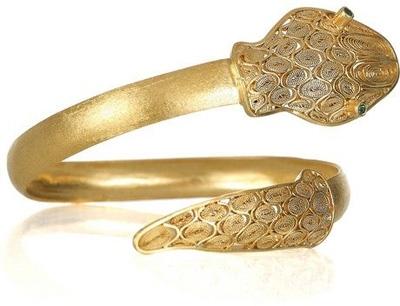 Mallarino Jazmin 24-Karat Gold-Vermeil Emerald Snake Bracelet