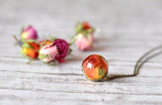 Real Rosebud Resin Sphere Pendant Necklace