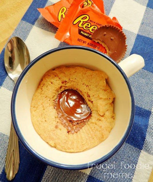Reese's-Stuffed Peanut Butter Mug Cake