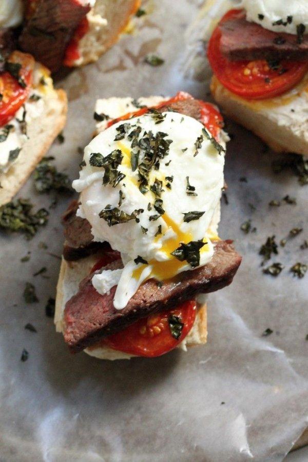 Steak and Egg Breakfast Bruschetta