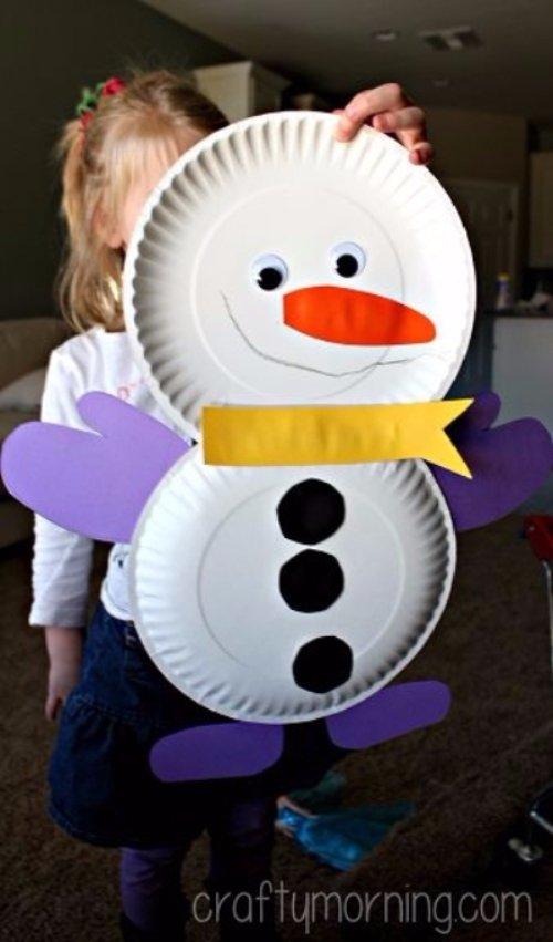 Cute Paper Plate Snowman Craft