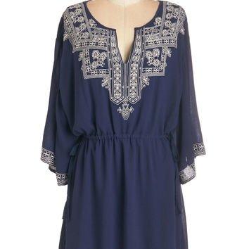 ModCloth Boho Short Length Long Sleeve a-line in Chic Company Dress