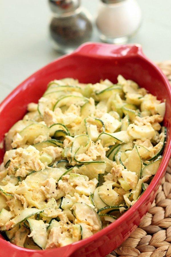 Tuna, Celery and Egg Spiralized Zucchini & Cucumber Salad