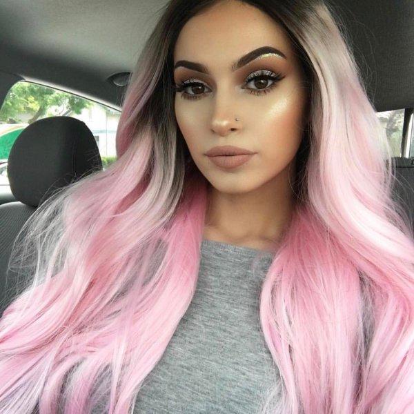 hair, human hair color, pink, face, black hair,