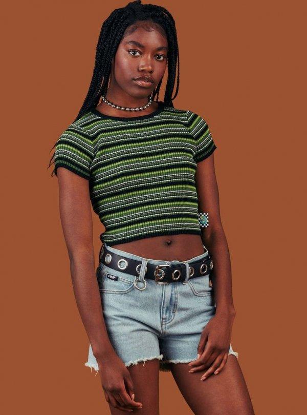 Clothing, Green, Fashion, Shoulder, Crop top,