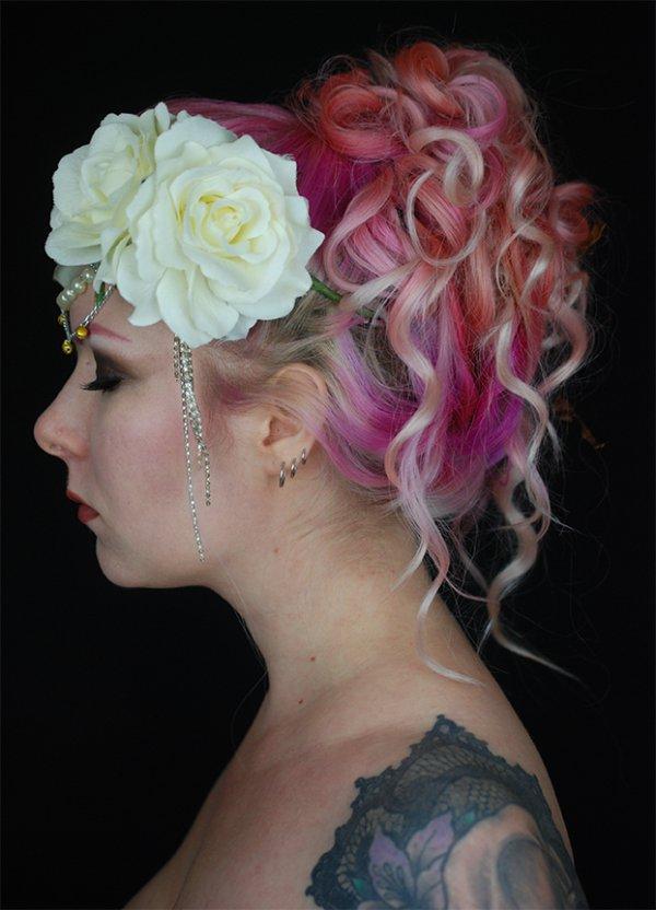 hair, flower, pink, human hair color, hair accessory,