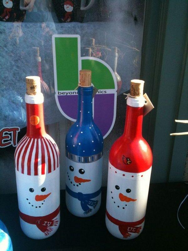 Snowman Painted Wine Bottles
