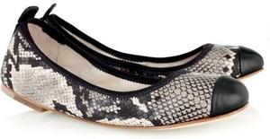 Bloch Carina Snake-print Leather Ballerina Flats